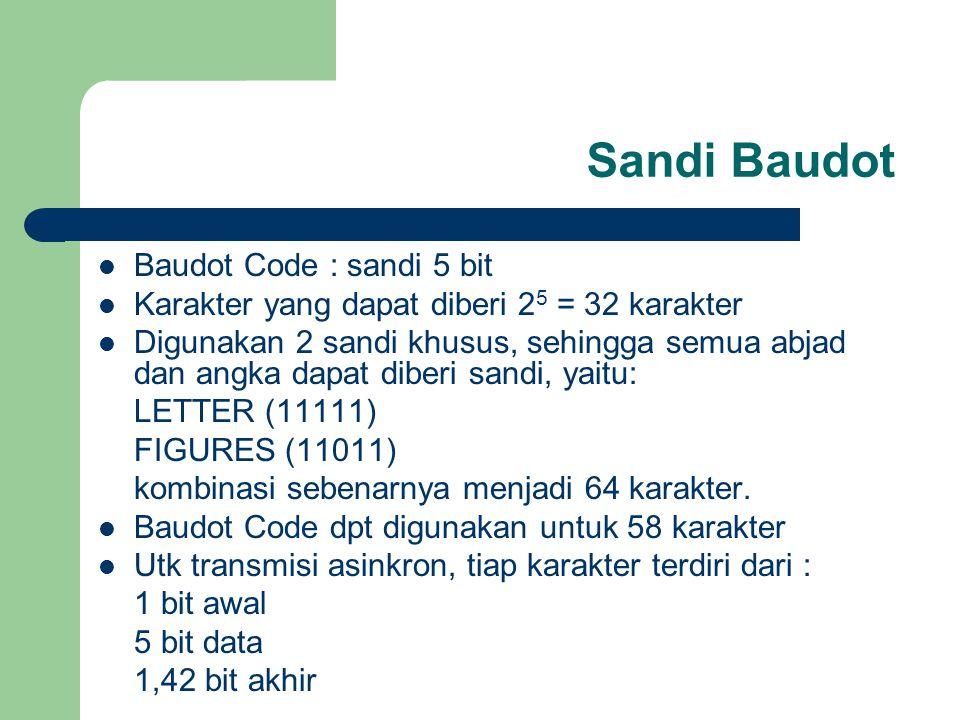 Sandi Baudot Baudot Code : sandi 5 bit Karakter yang dapat diberi 2 5 = 32 karakter Digunakan 2 sandi khusus, sehingga semua abjad dan angka dapat dib