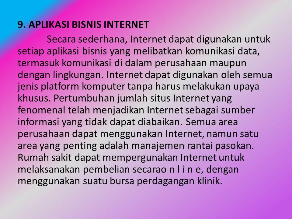 9. APLIKASI BISNIS INTERNET Secara sederhana, Internet dapat digunakan untuk setiap aplikasi bisnis yang melibatkan komunikasi data, termasuk komunika
