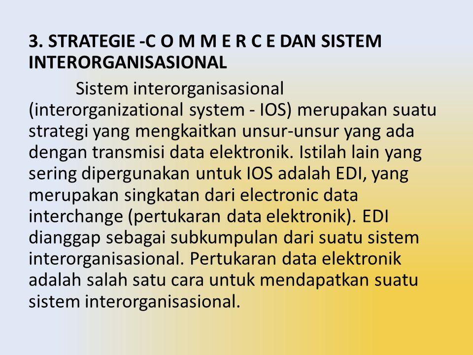 3. STRATEGIE -C O M M E R C E DAN SISTEM INTERORGANISASIONAL Sistem interorganisasional (interorganizational system - IOS) merupakan suatu strategi ya