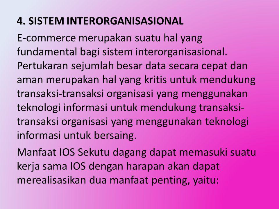 4. SISTEM INTERORGANISASIONAL E-commerce merupakan suatu hal yang fundamental bagi sistem interorganisasional. Pertukaran sejumlah besar data secara c