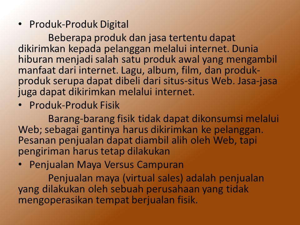 Produk-Produk Digital Beberapa produk dan jasa tertentu dapat dikirimkan kepada pelanggan melalui internet. Dunia hiburan menjadi salah satu produk aw