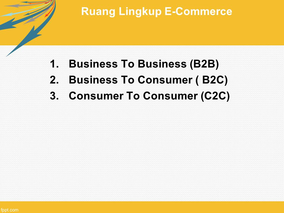 Ruang Lingkup E-Commerce 1.Business To Business (B2B) 2.Business To Consumer ( B2C) 3.Consumer To Consumer (C2C)