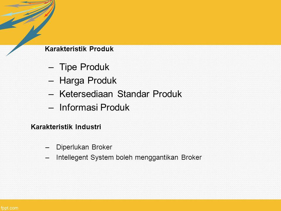 Karakteristik Produk –Tipe Produk –Harga Produk –Ketersediaan Standar Produk –Informasi Produk Karakteristik Industri –Diperlukan Broker –Intellegent System boleh menggantikan Broker
