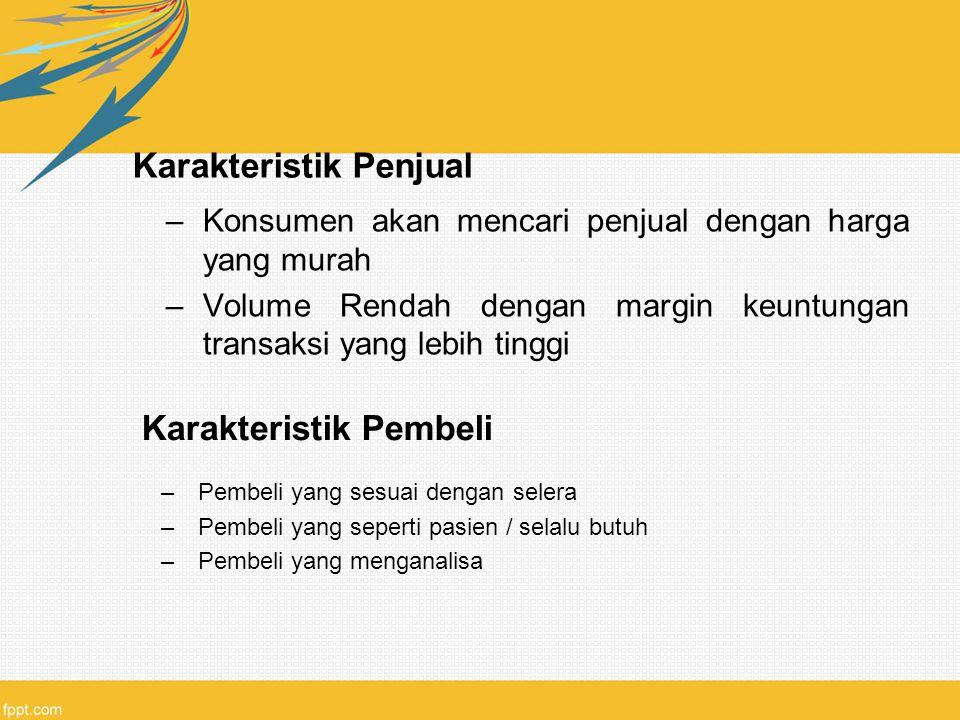 Karakteristik Penjual –Konsumen akan mencari penjual dengan harga yang murah –Volume Rendah dengan margin keuntungan transaksi yang lebih tinggi Karak