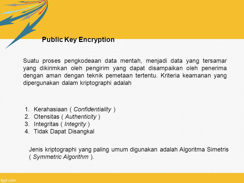 Public Key Encryption Suatu proses pengkodeaan data mentah, menjadi data yang tersamar yang dikirimkan oleh pengirim yang dapat disampaikan oleh penerima dengan aman dengan teknik pemetaan tertentu.