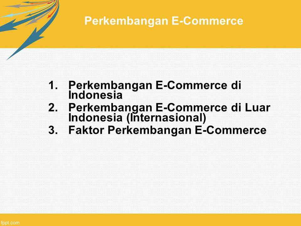 Perkembangan E-Commerce 1.Perkembangan E-Commerce di Indonesia 2.Perkembangan E-Commerce di Luar Indonesia (Internasional) 3.Faktor Perkembangan E-Com