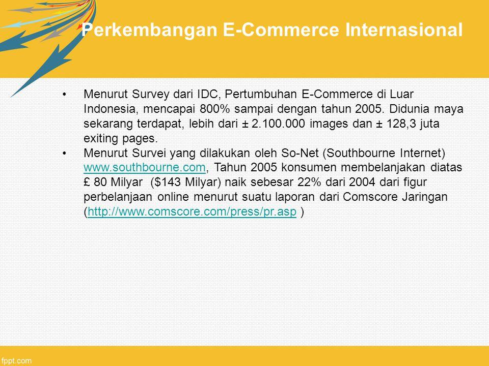Perkembangan E-Commerce Internasional Menurut Survey dari IDC, Pertumbuhan E-Commerce di Luar Indonesia, mencapai 800% sampai dengan tahun 2005. Didun