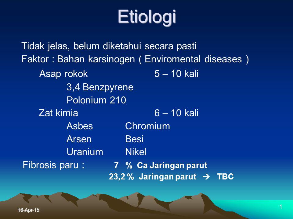 "16-Apr-15 Epidemiologi kanker paru Dunia VS ""Indonesia"" Dunia ""Indonesia "" Mortaliti Ranking I ?! Prevalensi Me ?! Perokok aktif 85% 92% * Perokok pas"
