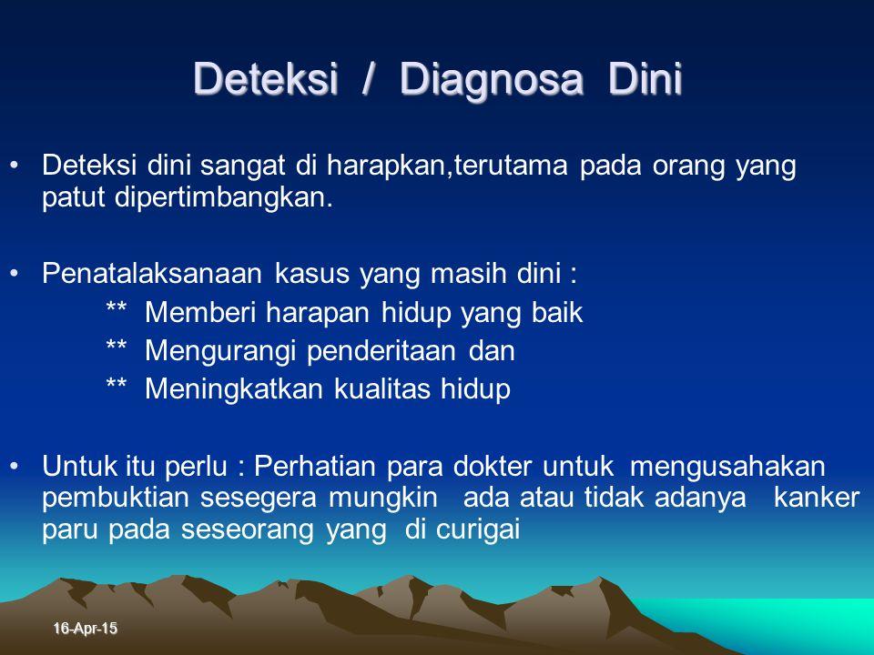 16-Apr-15 1 Pemeriksaan Penunjang Pemeriksaan Penunjang - Bronkoskopi - Bronkoskopi - Biopsi aspirasi trantorakal - Biopsi aspirasi trantorakal - Punk