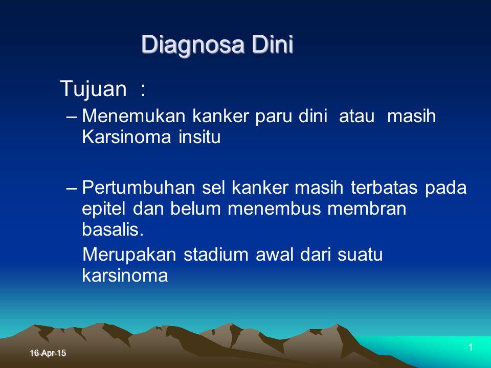 16-Apr-15 Deteksi / Diagnosa Dini Deteksi dini sangat di harapkan,terutama pada orang yang patut dipertimbangkan. Penatalaksanaan kasus yang masih din