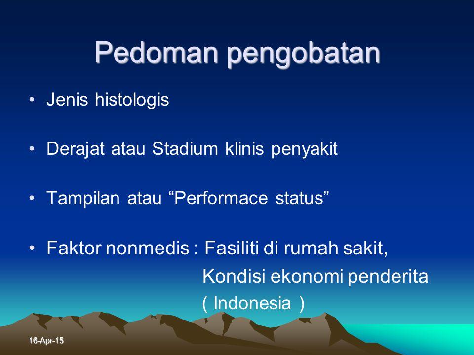 16-Apr-15 Modaliti Lain Pengobatan Kanker Paru Imunoterapi, mamfaat belum jelas Terapi hormon, belum ada hasil penelitian di Indonesia Terapi target,