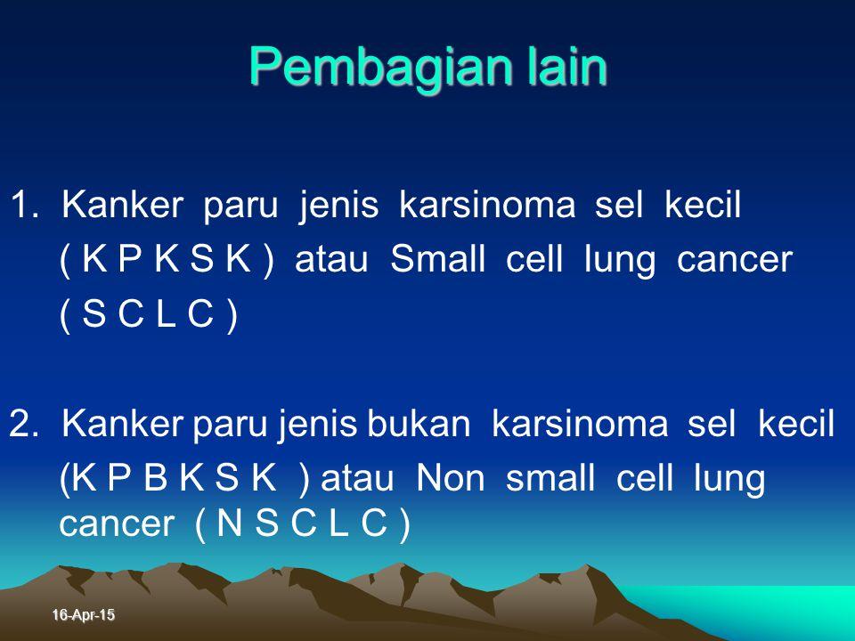 16-Apr-15 Jenis Histologis Klasifikasi histologis WHO 1. K arsinoma epidermoid atau Karsinoma sel skuamosa ( Squamous cell ca ) 2. Karsinoma sel kecil
