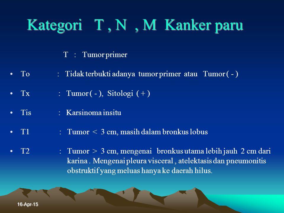 16-Apr-15 Stadium Kanker Paru Jenis Bukan Karsinoma Sel kecil Derajat nya berdasarkan : T, N, M. T : Tumor primer N : Nodul, telibatnya kelenjar getah