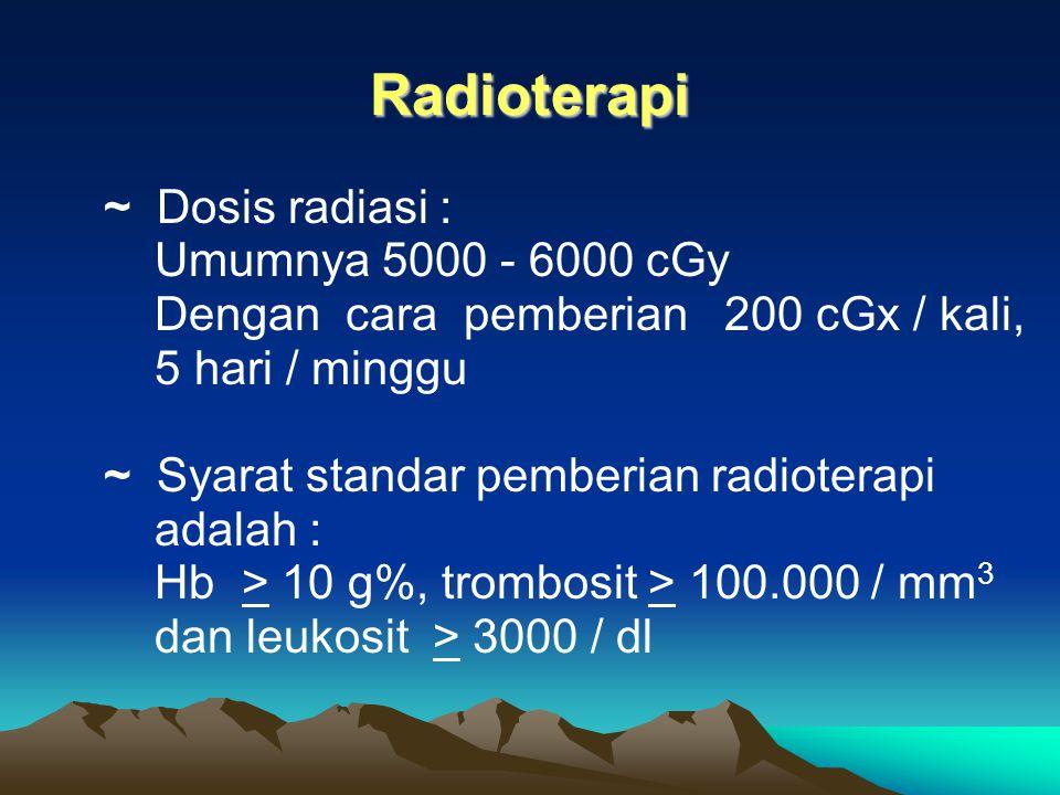 16-Apr-15 Radioterapi Kuratif : Untuk keadaan baik atau favourable group dapat : ~ Merupakan bagian kemoterapi neoadjuvan untuk stage IIIA ~ Kadang-ka