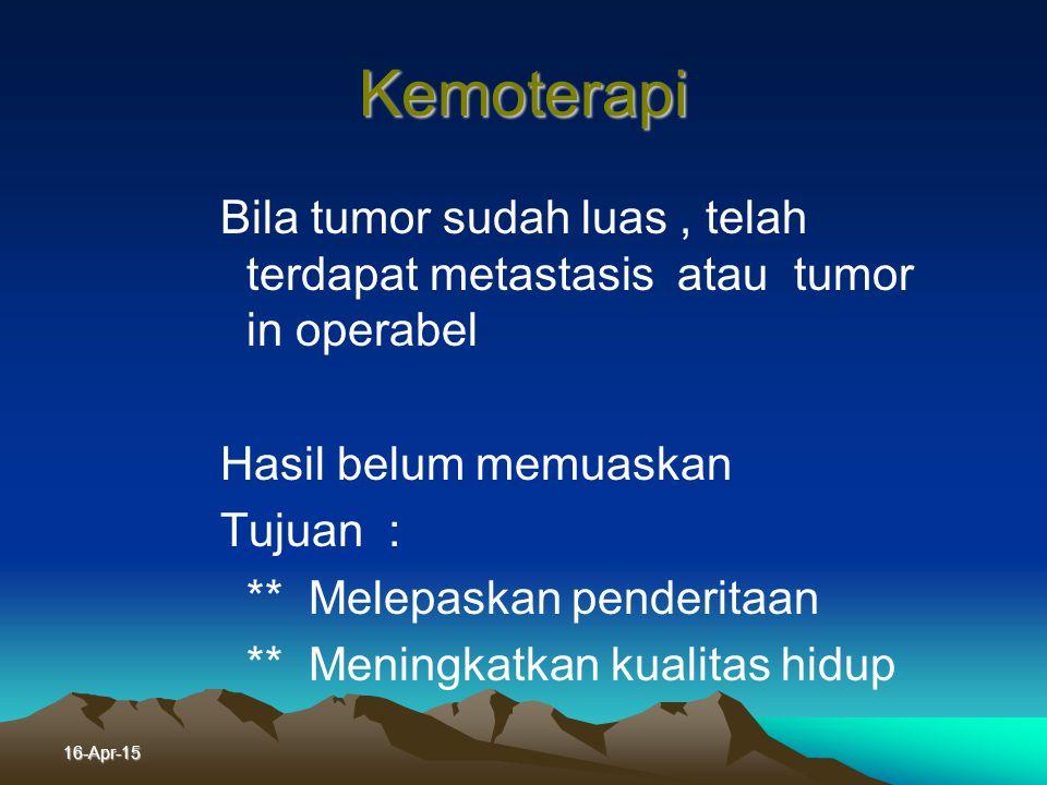Radioterapi ~ Dosis radiasi : Umumnya 5000 - 6000 cGy Dengan cara pemberian 200 cGx / kali, 5 hari / minggu ~ Syarat standar pemberian radioterapi ada