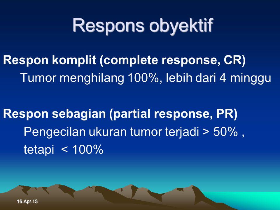 16-Apr-15 Evaluasi Hasil Pengobatan Sesudah siklus ke - 2 dengan foto toraks Bila mungkin setelah siklus ke-4 dengan CT Scan v Respon subyektif : Meni