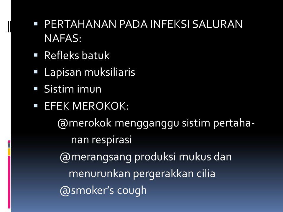  PERTAHANAN PADA INFEKSI SALURAN NAFAS:  Refleks batuk  Lapisan muksiliaris  Sistim imun  EFEK MEROKOK: @merokok mengganggu sistim pertaha- nan r