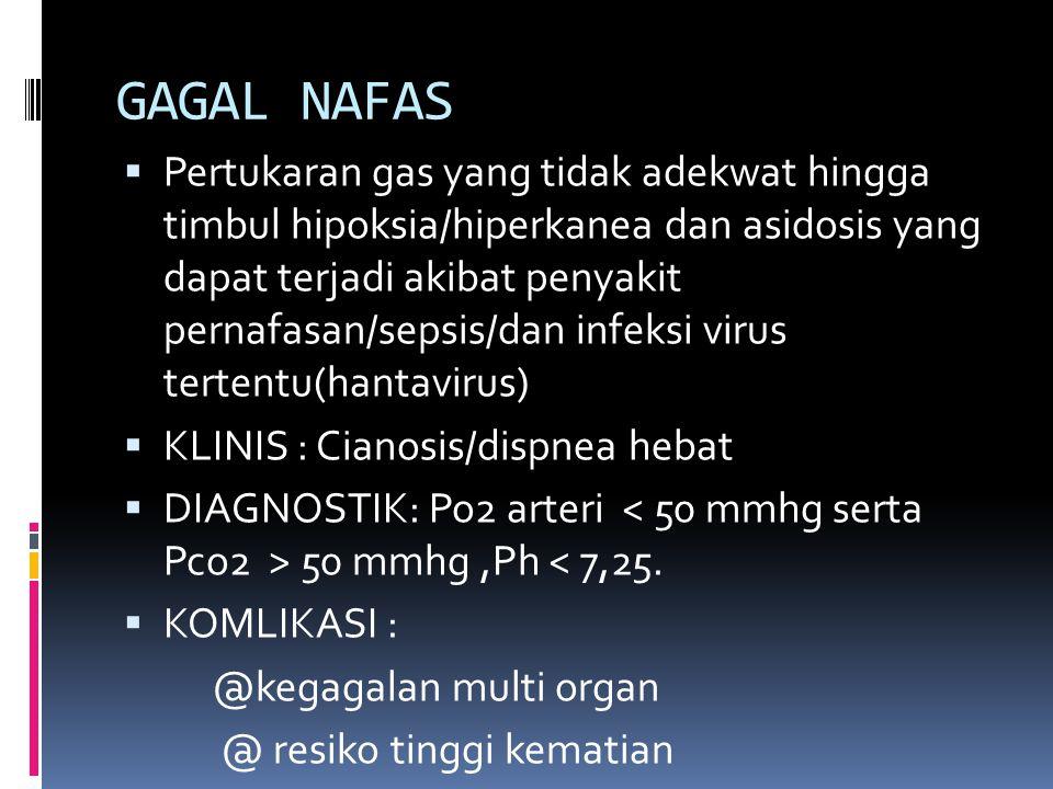 GAGAL NAFAS  Pertukaran gas yang tidak adekwat hingga timbul hipoksia/hiperkanea dan asidosis yang dapat terjadi akibat penyakit pernafasan/sepsis/da