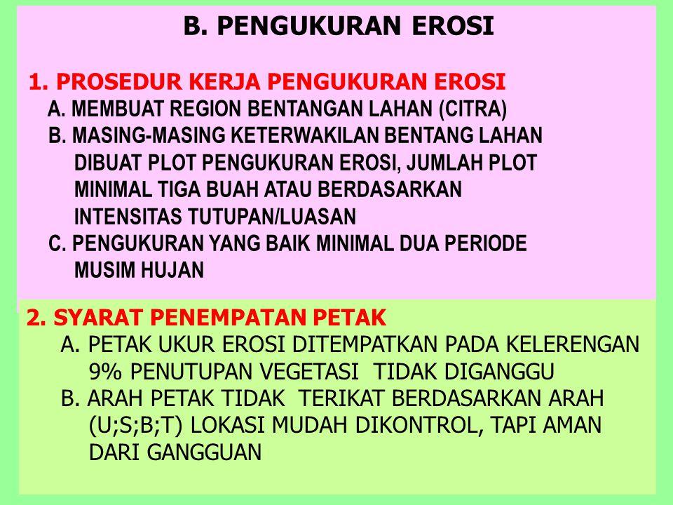B. PENGUKURAN EROSI 1. PROSEDUR KERJA PENGUKURAN EROSI A. MEMBUAT REGION BENTANGAN LAHAN (CITRA) B. MASING-MASING KETERWAKILAN BENTANG LAHAN DIBUAT PL