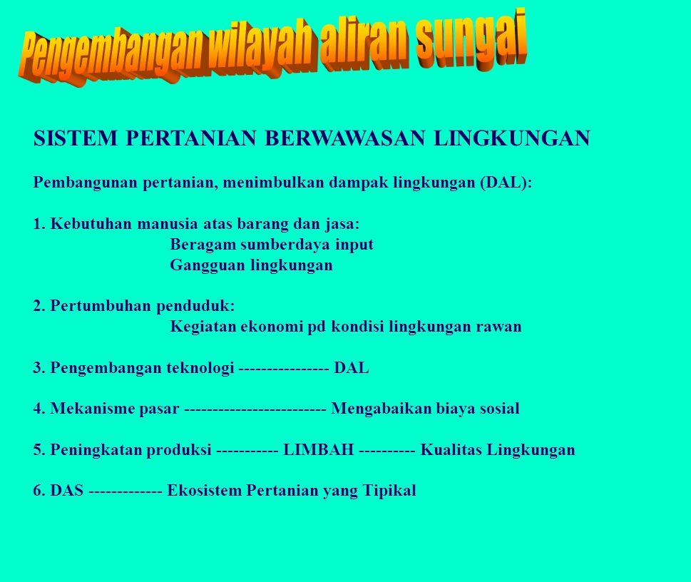 KONFIGURASI DAS Sub DAS I II III IV V VI VII X VIII x4 x6 X2 X1 x5 IX X3 Ecological yield: Debit air, sedimenEconomic yield: Bio-economic yield, ton/haCash income, rp/ha Employment, HOK/th/ha