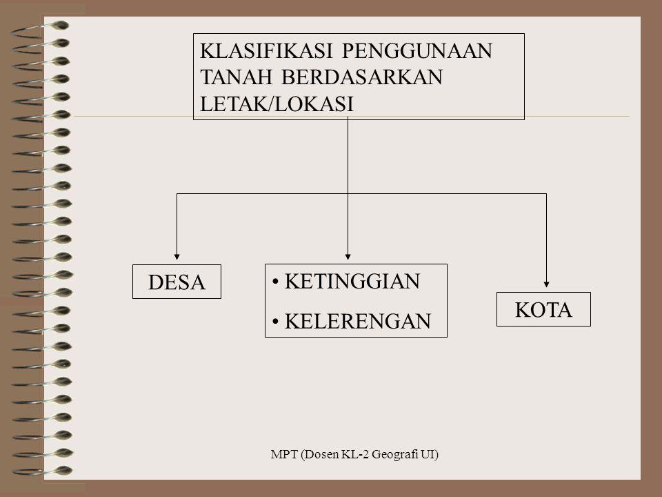 MPT (Dosen KL-2 Geografi UI) KLASIFIKASI PENGGUNAAN TANAH BERDASARKAN LETAK/LOKASI DESA KETINGGIAN KELERENGAN KOTA