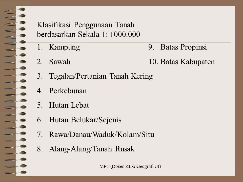 MPT (Dosen KL-2 Geografi UI) Klasifikasi Penggunaan Tanah berdasarkan Sekala 1: 1000.000 1.Kampung 2.Sawah 3.Tegalan/Pertanian Tanah Kering 4.Perkebun