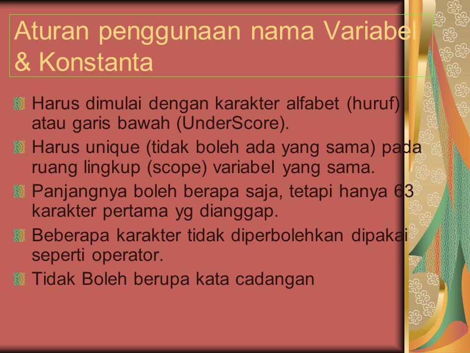 Aturan penggunaan nama Variabel & Konstanta Harus dimulai dengan karakter alfabet (huruf) atau garis bawah (UnderScore).