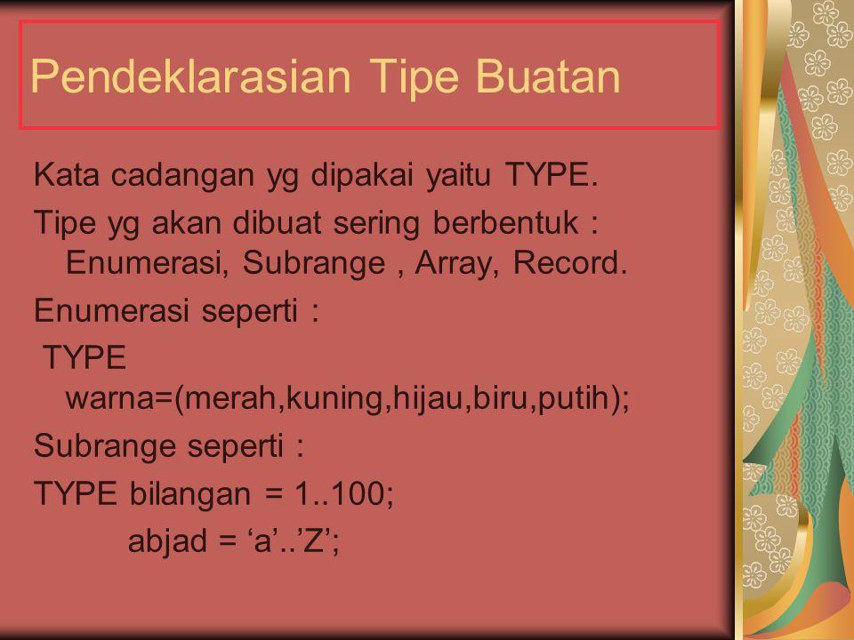 Pendeklarasian Tipe Buatan Kata cadangan yg dipakai yaitu TYPE.