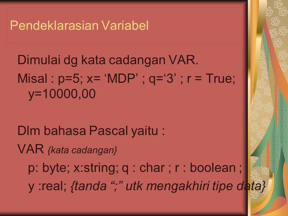 Pendeklarasian Variabel Dimulai dg kata cadangan VAR.