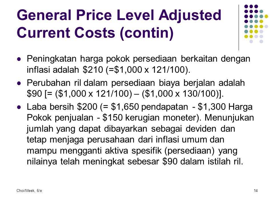 Choi/Meek, 6/e14 General Price Level Adjusted Current Costs (contin) Peningkatan harga pokok persediaan berkaitan dengan inflasi adalah $210 (=$1,000
