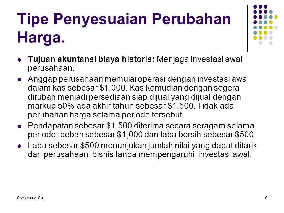 Choi/Meek, 6/e6 Tipe Penyesuaian Perubahan Harga. Tujuan akuntansi biaya historis: Menjaga investasi awal perusahaan. Anggap perusahaan memulai operas