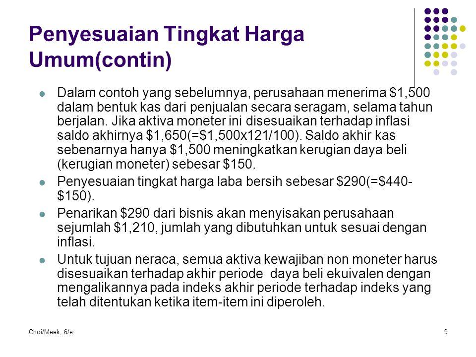 Choi/Meek, 6/e9 Penyesuaian Tingkat Harga Umum(contin) Dalam contoh yang sebelumnya, perusahaan menerima $1,500 dalam bentuk kas dari penjualan secara