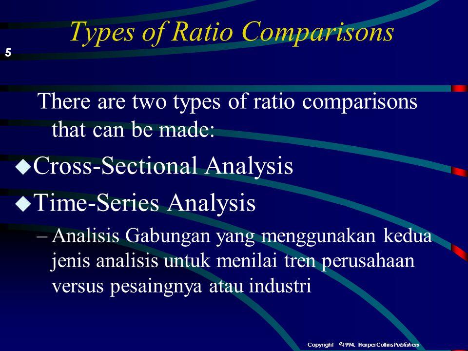 Types of Ratio Comparisons There are two types of ratio comparisons that can be made: u Cross-Sectional Analysis u Time-Series Analysis –Analisis Gabungan yang menggunakan kedua jenis analisis untuk menilai tren perusahaan versus pesaingnya atau industri 5  1994, HarperCollins Publishers Copyright