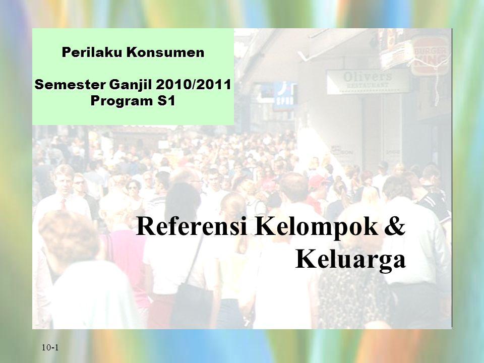 10-1 Perilaku Konsumen Semester Ganjil 2010/2011 Program S1 Referensi Kelompok & Keluarga