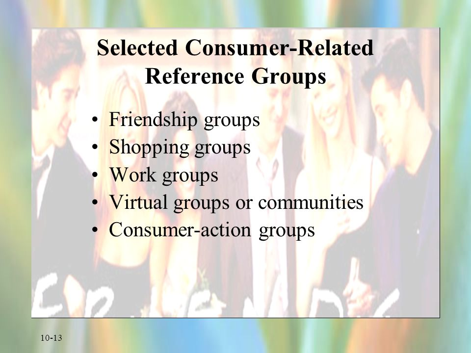 10-13 Selected Consumer-Related Reference Groups Friendship groups Shopping groups Work groups Virtual groups or communities Consumer-action groups