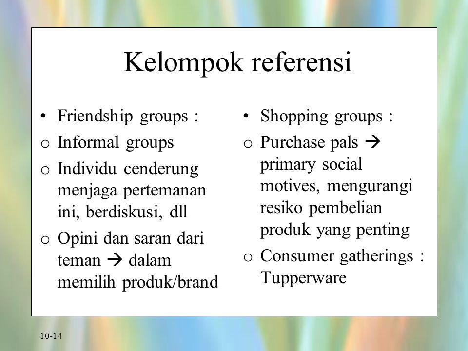 10-14 Kelompok referensi Friendship groups : o Informal groups o Individu cenderung menjaga pertemanan ini, berdiskusi, dll o Opini dan saran dari tem