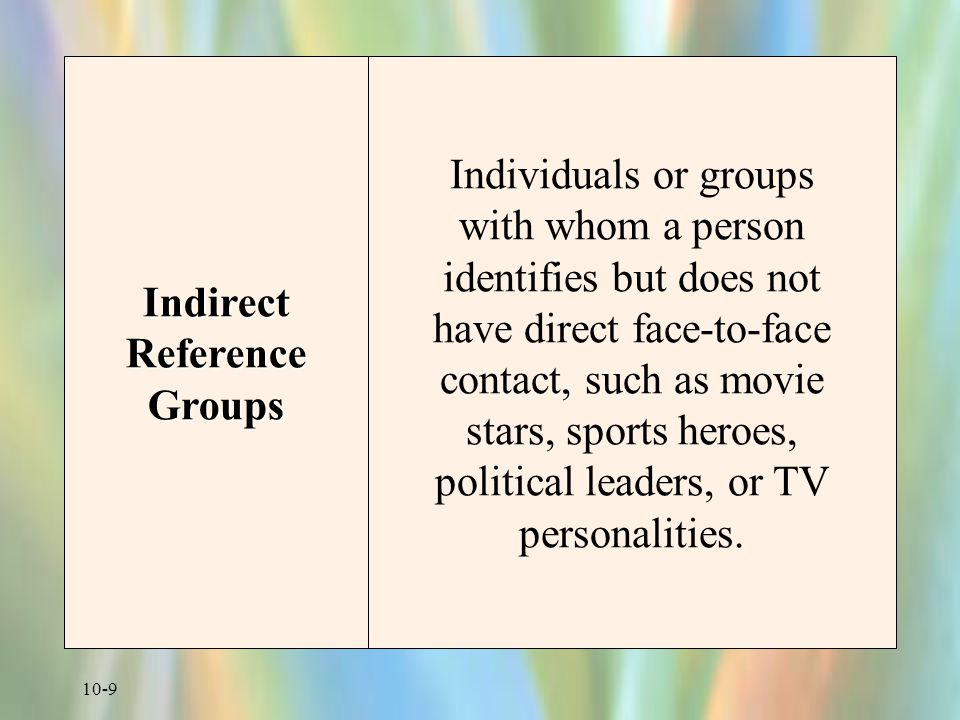 10-10 Major Consumer Reference Groups Reference Groups