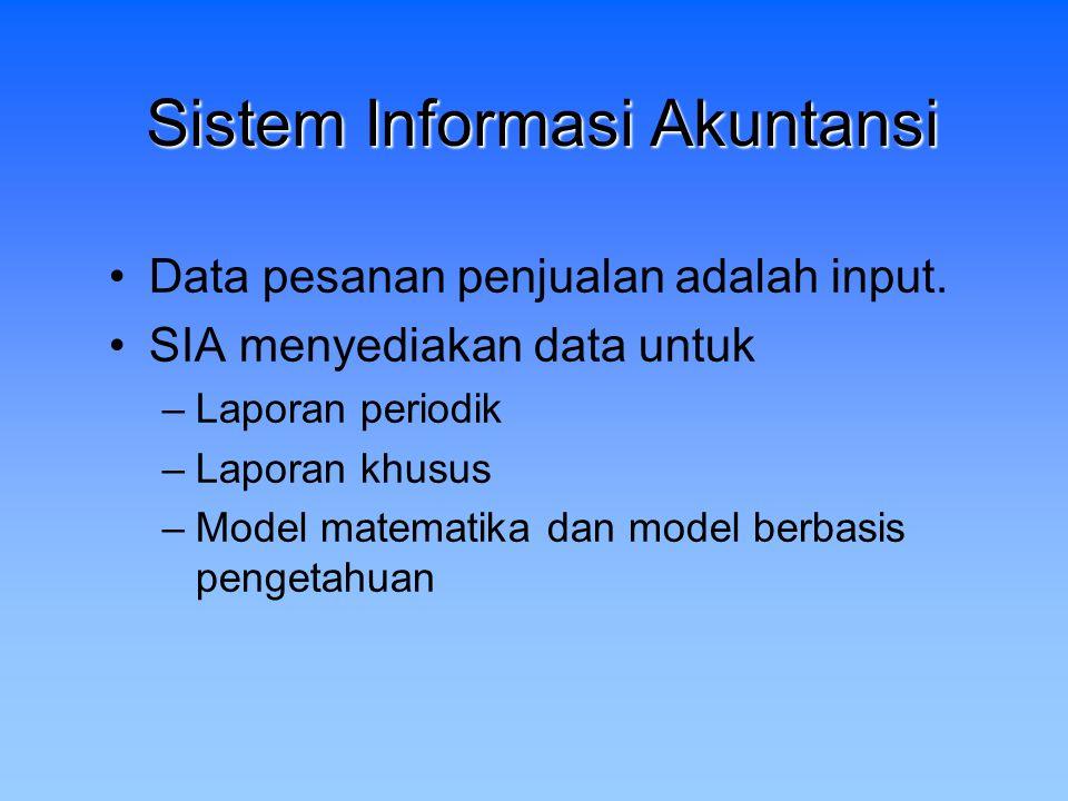 Sistem Informasi Akuntansi Data pesanan penjualan adalah input. SIA menyediakan data untuk –Laporan periodik –Laporan khusus –Model matematika dan mod