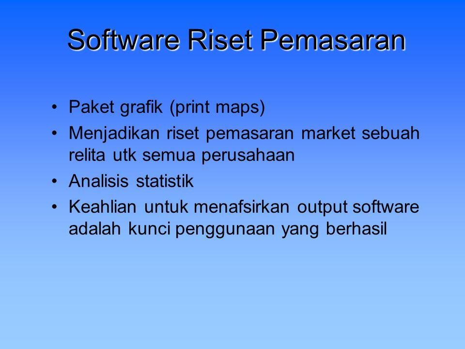 Software Riset Pemasaran Paket grafik (print maps) Menjadikan riset pemasaran market sebuah relita utk semua perusahaan Analisis statistik Keahlian un