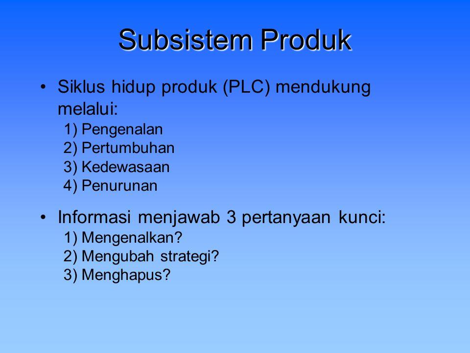 Subsistem Produk Siklus hidup produk (PLC) mendukung melalui: 1) Pengenalan 2) Pertumbuhan 3) Kedewasaan 4) Penurunan Informasi menjawab 3 pertanyaan