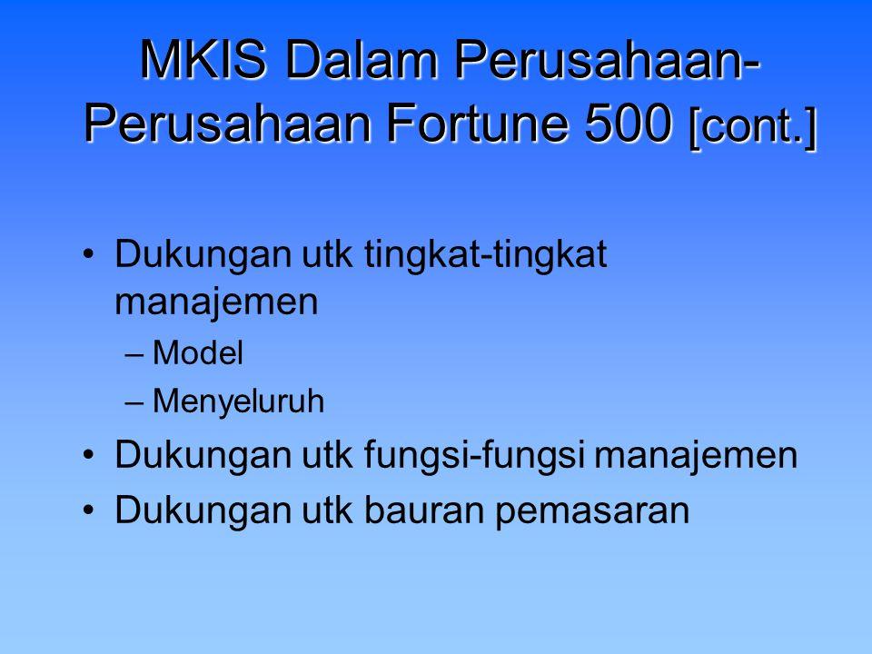 MKIS Dalam Perusahaan- Perusahaan Fortune 500 [cont.] Dukungan utk tingkat-tingkat manajemen –Model –Menyeluruh Dukungan utk fungsi-fungsi manajemen D