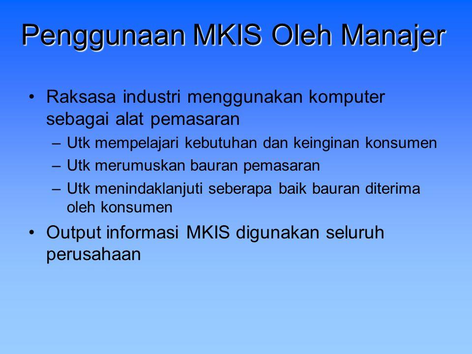Penggunaan MKIS Oleh Manajer Raksasa industri menggunakan komputer sebagai alat pemasaran –Utk mempelajari kebutuhan dan keinginan konsumen –Utk merum