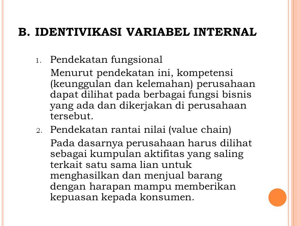 B.IDENTIVIKASI VARIABEL INTERNAL 1. Pendekatan fungsional Menurut pendekatan ini, kompetensi (keunggulan dan kelemahan) perusahaan dapat dilihat pada