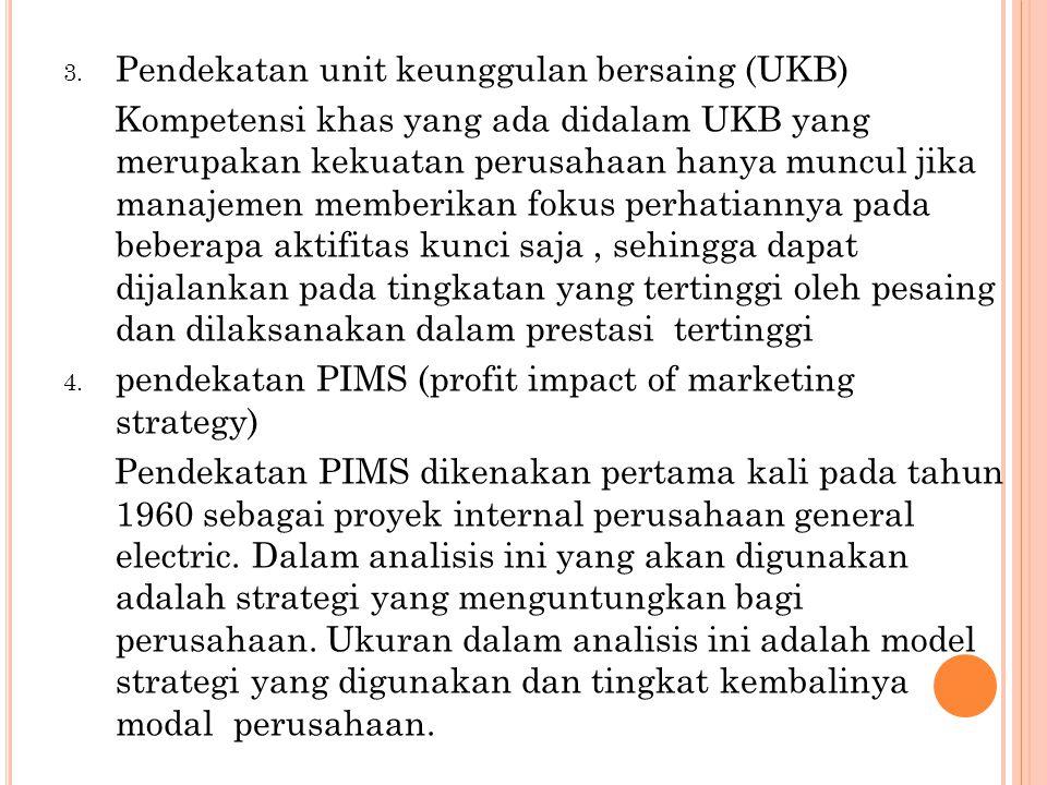 Karakteristik yang tercakup dalam analisis ini adalah : intensitas investasi, pangsa pasar, pertumbuhan pasar, daur kehidupan, rasio biaya pemasaran dan besarnya penjualan.
