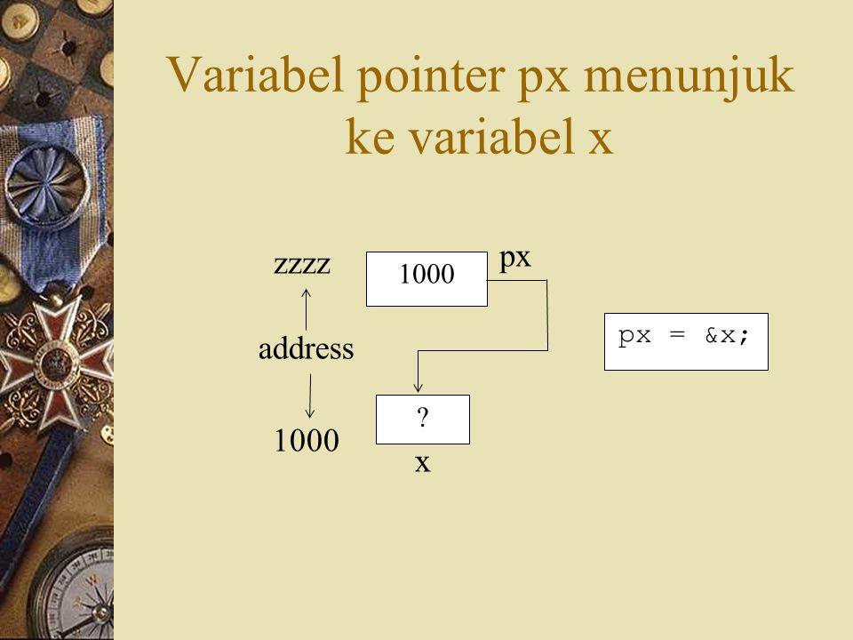Mendeklarasikan Variabel Pointer tipe *nama_variabel Bentuk Umum: int *px; Contoh: px = &x; Mengatur Pointer agar Menunjuk ke Variabel Lain Mengakses Isi Suatu Variabel Melalui Pointer y = *px;