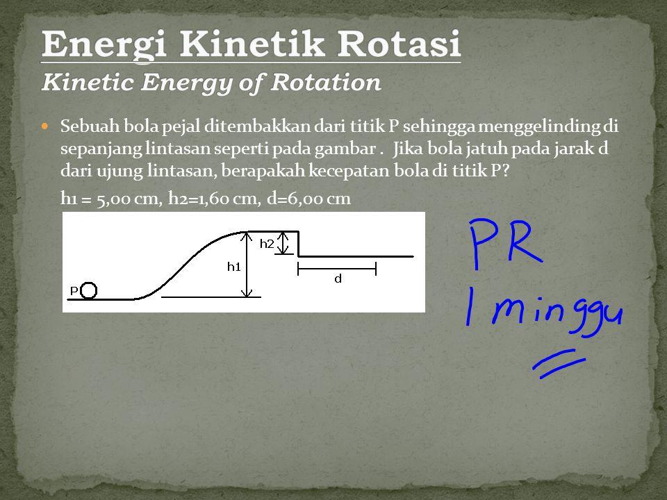Sebuah silinder pejal berjari-jari 10 cm dan bermassa 12 Kg mula-mula diam kemudian menggelinding sepanjang L=6,0 m pada bidang miring dengan sudut θ=30 o.