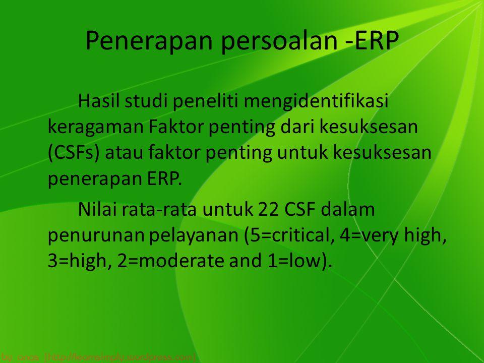 Penerapan persoalan -ERP Hasil studi peneliti mengidentifikasi keragaman Faktor penting dari kesuksesan (CSFs) atau faktor penting untuk kesuksesan penerapan ERP.