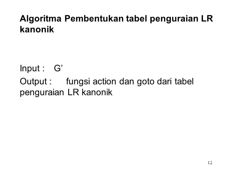 12 Algoritma Pembentukan tabel penguraian LR kanonik Input : G' Output : fungsi action dan goto dari tabel penguraian LR kanonik