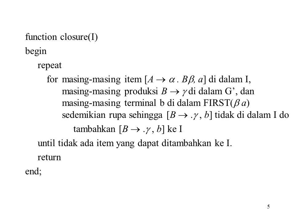 5 function closure(I) begin repeat for masing-masing item [A  . B , a] di dalam I, masing-masing produksi B   di dalam G', dan masing-masing term