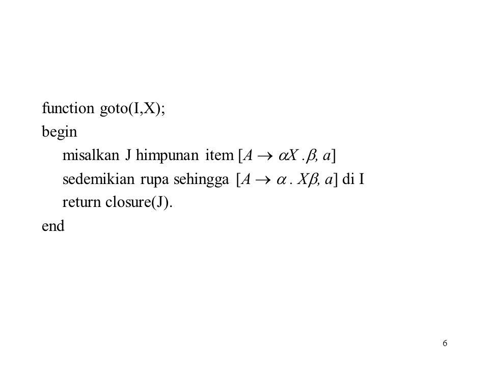 6 function goto(I,X); begin misalkan J himpunan item [A   X. , a] sedemikian rupa sehingga [A  . X , a] di I return closure(J). end
